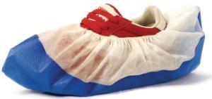 Shoe covers for dispenser, CPE coating, white/blue