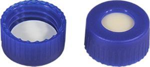 Screw closure (bonded), N 9, PP,blue,center hole,Silic. beige/PTFE white, 1,3 mm