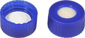 Screw closure (bonded), N 9, PP,blue,center hole, beige/PTFE,slit, 1,3 mm