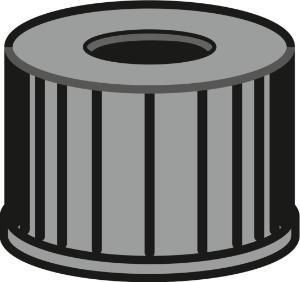 Screw closure, N 8, PP, black, center hole, no liner