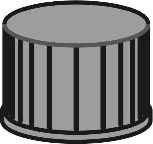 Screw closure, N 8, PP, black, closed top, no liner