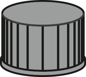 Screw closure, N 13, PP, black, closed top, no liner