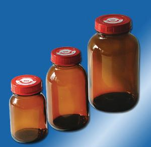 Bottles, wide neck, with screw caps, behroplast®
